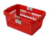 Wham Red Set of 3 Medium Plastic Handy Fruit Vegetable Basket Kitchen Office Storage