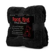 Snug Rug Luxury Sherpa Fleece Snug Rug Throw Blanket, Black, 127 x 178cm  [Special Edition]