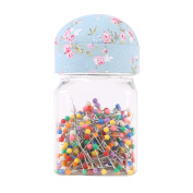 Neoviva Plastic Storage Jar Containers with Pin Cushion Lid for Quilting Pins, 300 Ball Head Pins Included, Floral Blue Ocean