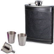 240ml Black Leather Hip Flask With 2 Cups & Funnel Hip Flask Set Gift Set Prime Homewares®