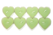 Set of 8 Romantic Heart Shaped Scented Tealight Fragrance Aroma Decorative Candles [Green Apple Fragrance]