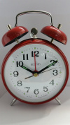 Acctim Selworth Keywound Wind Up Double Bell Alarm Clock Bedside Red 15274