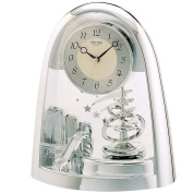 Rhythm Cont Mantel Clock Arched Top/Sprial Pendulum Silver