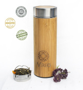 Stainless Steel Bamboo Tea Infuser with Strainer - Vacuum Insulated Coffee Travel Mug, Fruit and Juice Infuser, Wide-mouth, Portable 450 ml Water Bottle Tumbler. BPA, Rust, and Leak-Free