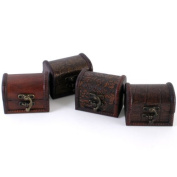 Set of 4 Small / Mini Handcrafted Treasure Chest Trinket Boxes- Random Designs Will Be Sent