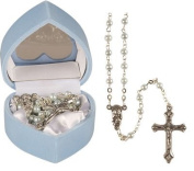 Baby Boy's Baptism Gift - child's FIRST ROSARY BEADS - blue pearl effect rosaries, including a How to Pray the Rosary leaflet