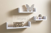 Set Of 3 Different Sizes U Shaped Wooden Floating Shelf Available in black,White (White) by dy & dx