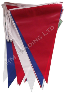 Red Blue White PVC Plastic Bunting Banner 10 Metre Long 20 Flags Pennant Double Sided Indoor & Outdoor Party Decoration