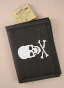 TRIFOLD WALLETS CREDIT CARD HOLDER ZIP PHOTO COMPARTMENT BLACK SKULL CROSSBONE
