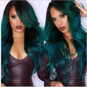 Heat Resistant Fibre Hair mermaid green colour mix colour Synthetic lace front wig for women.