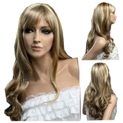 MELADY®(Free Cap) Fashion Casual Highlights Blonde Long Waves Curly Synthetic Women Girls Lady Hair Replacement Wigs