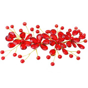 Happy Hours - Women's Red Flower Rhinestone Handmade Hairpins Pearl Barrette Clips for Prom Wedding Bridal Bridesmaid Jewellery Accessories