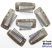 Akak Store 20 Pcs/Lot 3.6cm 10-teeth Brown Metal Snap Comb Wig Clips with Rubber for Hair Extension