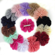XIMA 14pcs 10cm Lace Flower Hair Clip Lace with Alligator Clip for Girls