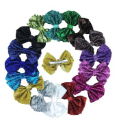 XIMA 16pcs 10cm Glitter Girls Hair Bow with Clip,Sequin Hairbows for Kids