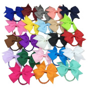XIMA 23pcs 8.9cm Cheer Leading Boutique Ribbon Bows with Elastic Hairband