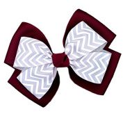 Victory Bows Chevron Double Quad Grosgrain Hair Bow- The Siena Marie Maroon and Silver- Made in the USA Pony Tail Band