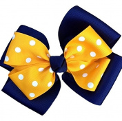 Victory Bows Polka Dot Double Quad Grosgrain Hair Bow- The Siena Marie Navy Blue and Gold- Made in the USA Pony Tail Band