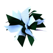 Victory Bows Spiky Pom Pom Grosgrain Hair Bow- The Sandra Hunter Green and White- Made in the USA Pony Tail Band