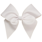 Victory Bows Large 18cm White Hair Bow made with 7.6cm Grosgrain Ribbon- The Anna-Made in USA Pony Tail Band