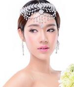 type23 Lady Hair Band Headdress Chain with Earrings Rhinestone Diamond Wedding Bridal Head Wear Jewellery Hairpieces