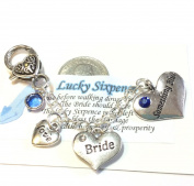 """Brides Wedding Garter,Charm, bouquet charm, CELTIC """"Something Blue"""" with REAL Vintage Sixpence Coin"""