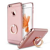 iPhone SE Case,Inspirationc® Ultra-thin 3 in 1 Plastic Hard Skin 360 Degree Rotating Ring Kickstand for Apple iPhone SE/5S/5--Rose Gold