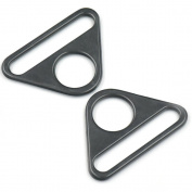 "Bluemoona 20 Pcs - 1.5"" 38mm Metal Adjuster Triangle Ring with Bar Swivel Clip D Dee Buckles Black"