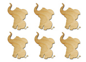 Elephant Shape Unfinished Wood Animal Cut Outs 7.6cm Inch 6 Pieces ELEP03-06