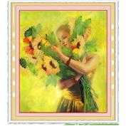 Egoshop Silk Ribbon Embroidery Kit Sunflower Girl DIY Wall Decor Silk Ribbon Embroidery Kit With English Instruction