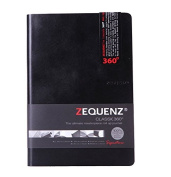 Zequenz Classic 360 Soft Bound Journal Writing Notebook Large 15cm x 21cm Black 200 sheets / 400 pages Ruled premium paper