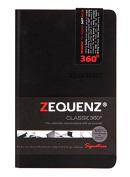 "Zequenz Classic 360 Soft Bound Notebook ""Mini"" Pocket size journal Black 8.9cm x 14cm Grid pattern 128 sheets / 256 pages premium paper"