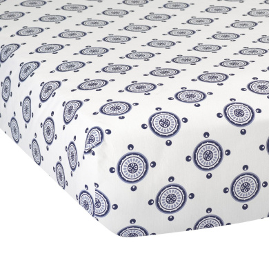 Lambs & Ivy Class Navy Medallion Fitted Crib Sheet