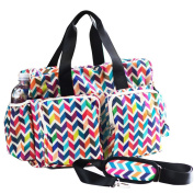 LCY Large Tote Messenger Colourful Nappy Bag with Stroller Hooks