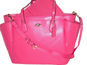 COACH Crossgrain Leather Baby Nappy Bag Multifunction Tote in Light Gold / Dahlia Pink 35702