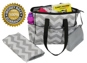 NimNik Baby Premium Nappy Tote Bag Chevron w/ Changing Mat, Designer Nappies Bag for Girls Boys Twins, Shower Gifts for Mom Dad