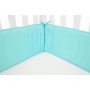 TL Care Cotton Percale Mini Crib Bumper, Aqua