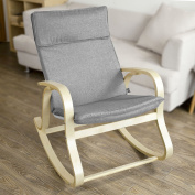 SoBuy® FST15-DG, Comfortable Relax Rocking Chair, Lounge Chair Relax Chair with Cotton Fabric Cushion