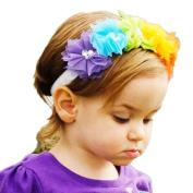 Alonea Baby Girl Kids Children Chiffon Flower Headband Hairband Head Wrap Hair Accessories Multicolor