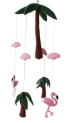 Silk Road Bazaar Flamingos and Palms Mobile, Green/Pink
