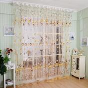 Academyus Drape Panel Room Sheer Home Door Window Decoration Tulip Flower Voile Curtain (Orange 100cm x 200cm