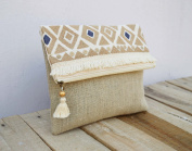 Boho pouch Moroccan Natural colour linen bag Foldover Clutch Embroidered 25cm X 20cm