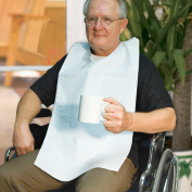 BAS Disposable Adult Bibs - Protects The Chest And Lap From Spills And Stains - 1 Ply Tissue / Poly - Waterproof Back Keeps Clothes Dry - Ties in Back