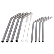 Stainless Steel Drinking Straws Set Of 8 With 2 Brush
