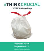 100PK Durable Garbage Bags Fit Simple Human J, 30-45L / 30.3-45.4l