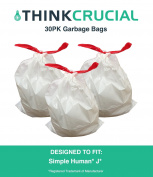 30PK Durable Garbage Bags Fit Simple Human J, 30-45L / 30.3-45.4l