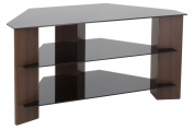 AVF FS900VARWB-A Varano TV Stand with Glass Shelves for TVs Up To 110cm , Walnut and Black Glass