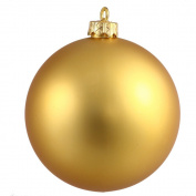7.6cm Gold Matte Ball 12/Bag UV Resistant Shatterproof, Pre-Drilled Cap Secured with 15cm Green Floral Wire, 1 Year Christmas Seasonal