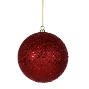 20cm Red Sequin Finish Ball Shatterproof, Pre-Drilled Cap Secured with 15cm Green Floral Wire, 1 Year Christmas Seasonal Warranty