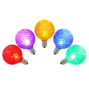 G40 Multi Faceted LED Retrofit E12 Base Bulbs 5/Poly Bag with Header, 3 Diodes, Dimmable, .96 Watts, red, blue, green, yellow, purple